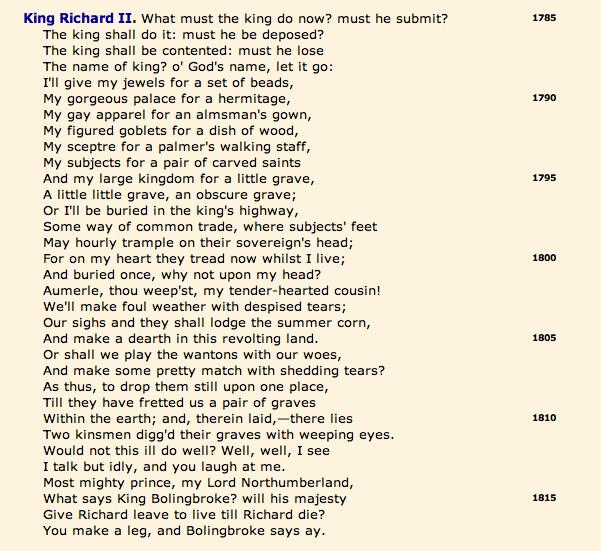 Open Source Shakespeare, Richard II, 3.3.1785-1817