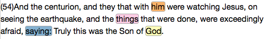 Matthew 27:54, Project Gutenberg Text (with discriminating features highlighted)