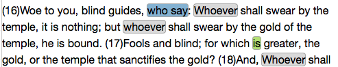 Matthew 23:16-17, Project Gutenberg Text (with discriminating features highlighted)