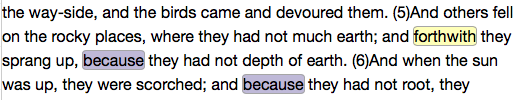 Matthew 13:5-6, Project Gutenberg Text (with discriminating features highlighted)